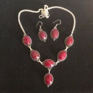 Natural Ruby 925 Silver Neclace Earring Set
